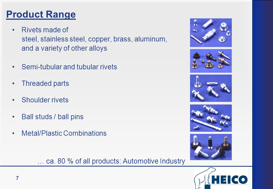 Product Range Rivets made of