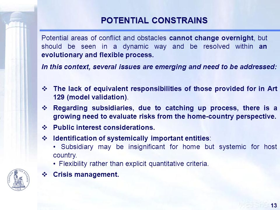 POTENTIAL CONSTRAINS