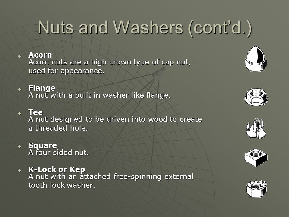 Nuts and Washers (cont'd.)