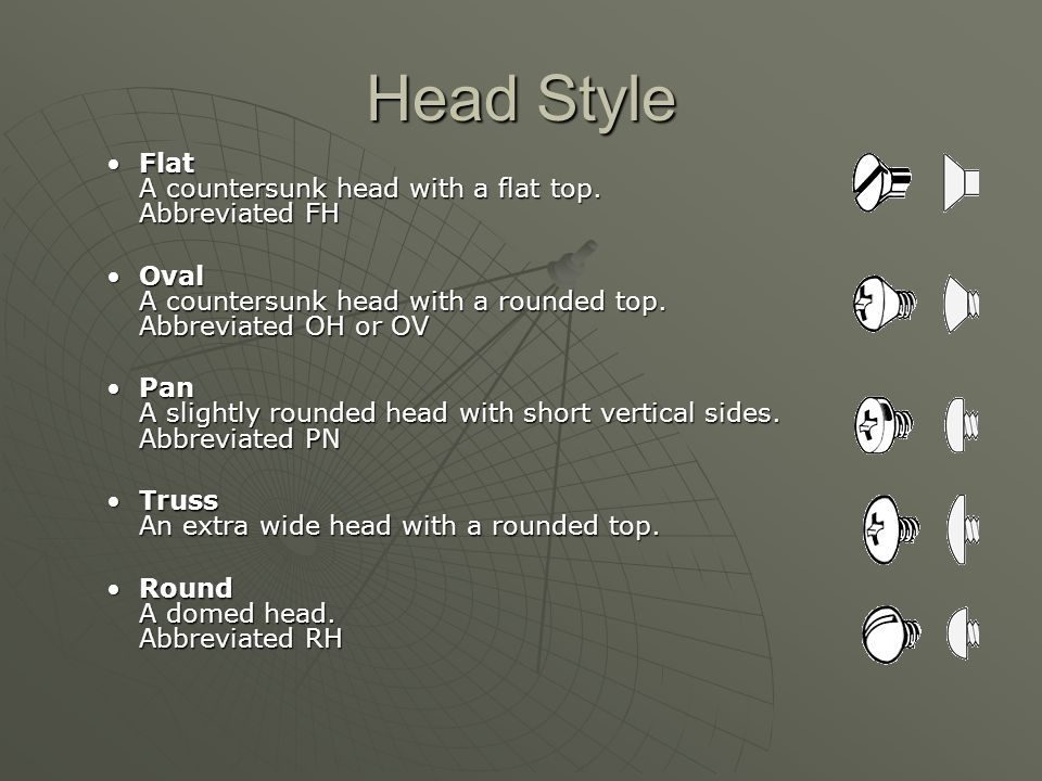 Head Style Flat A countersunk head with a flat top. Abbreviated FH