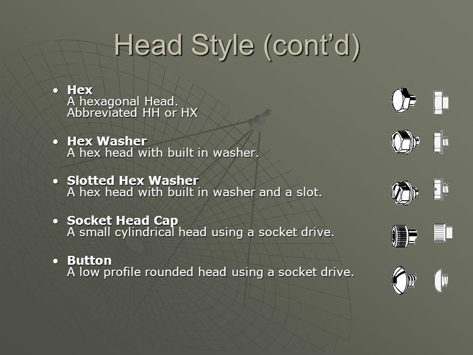 Head Style (cont'd) Hex A hexagonal Head. Abbreviated HH or HX