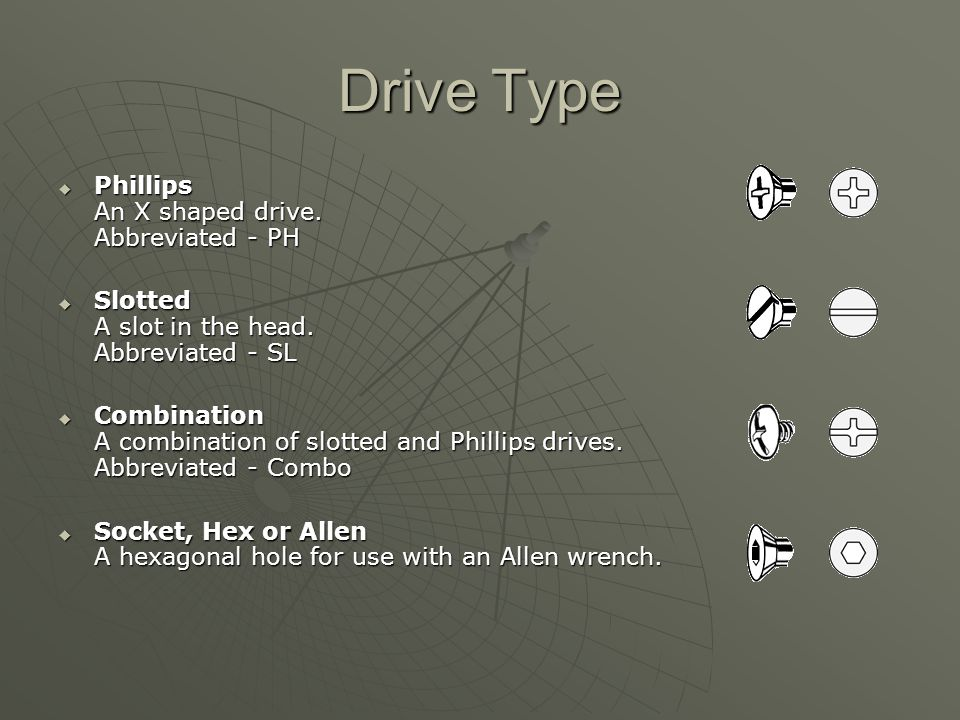 Drive Type Phillips An X shaped drive. Abbreviated - PH