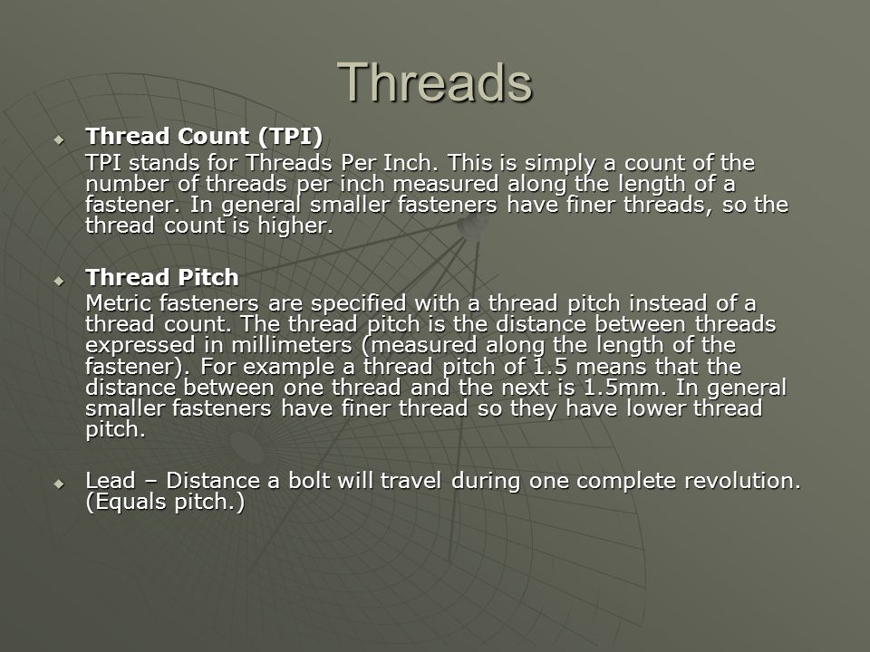 Threads Thread Count (TPI)
