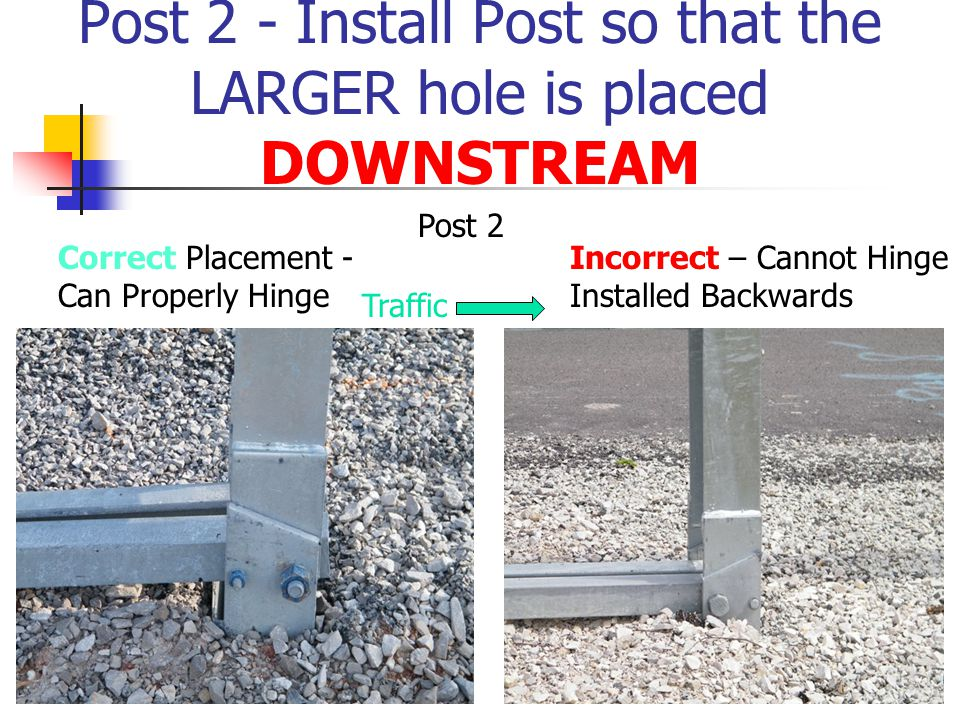 Post 2 - Install Post so that the LARGER hole is placed DOWNSTREAM