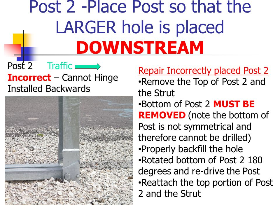 Post 2 -Place Post so that the LARGER hole is placed DOWNSTREAM