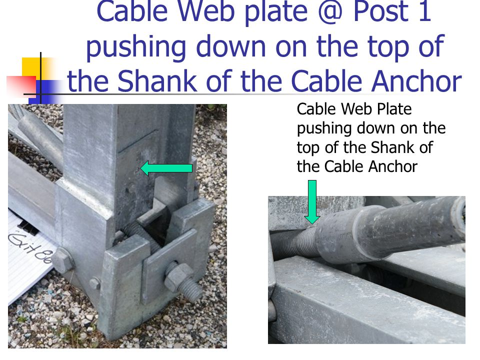 Cable Web plate @ Post 1 pushing down on the top of the Shank of the Cable Anchor