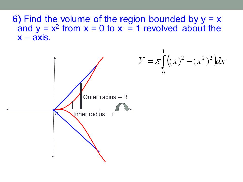 6) Find the volume of the region bounded by y = x and y = x2 from x = 0 to x = 1 revolved about the x – axis.