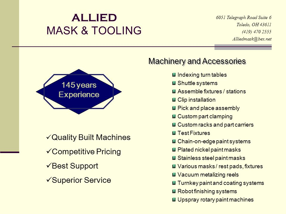 Allied ALLIED MASK & TOOLING Machinery and Accessories