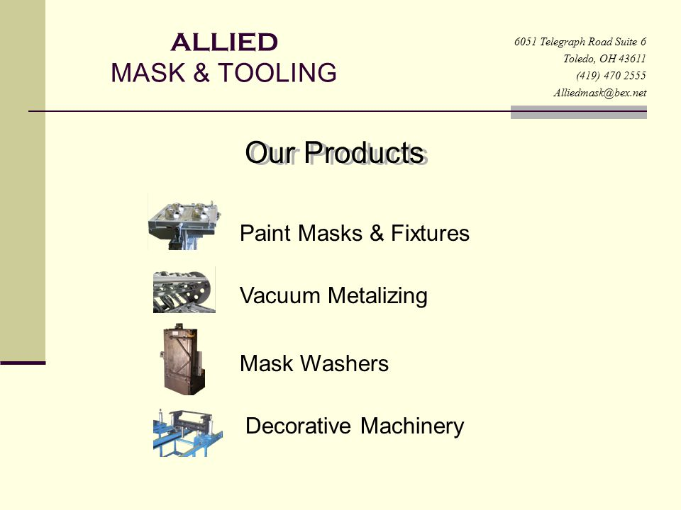 Our Products ALLIED MASK & TOOLING Paint Masks & Fixtures