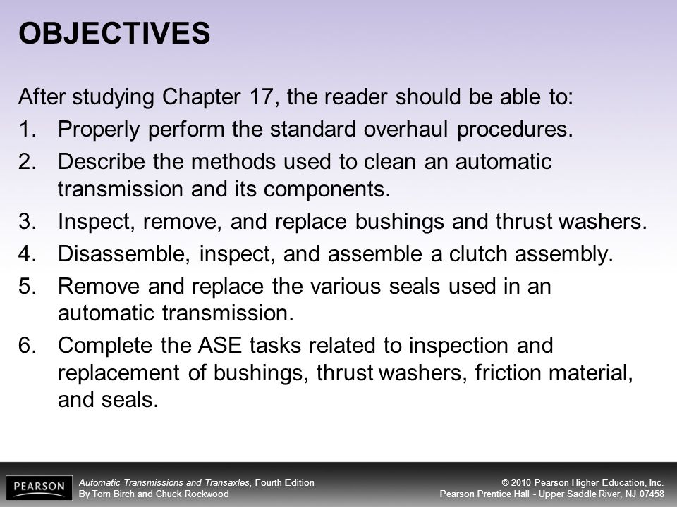 OBJECTIVES After studying Chapter 17, the reader should be able to: