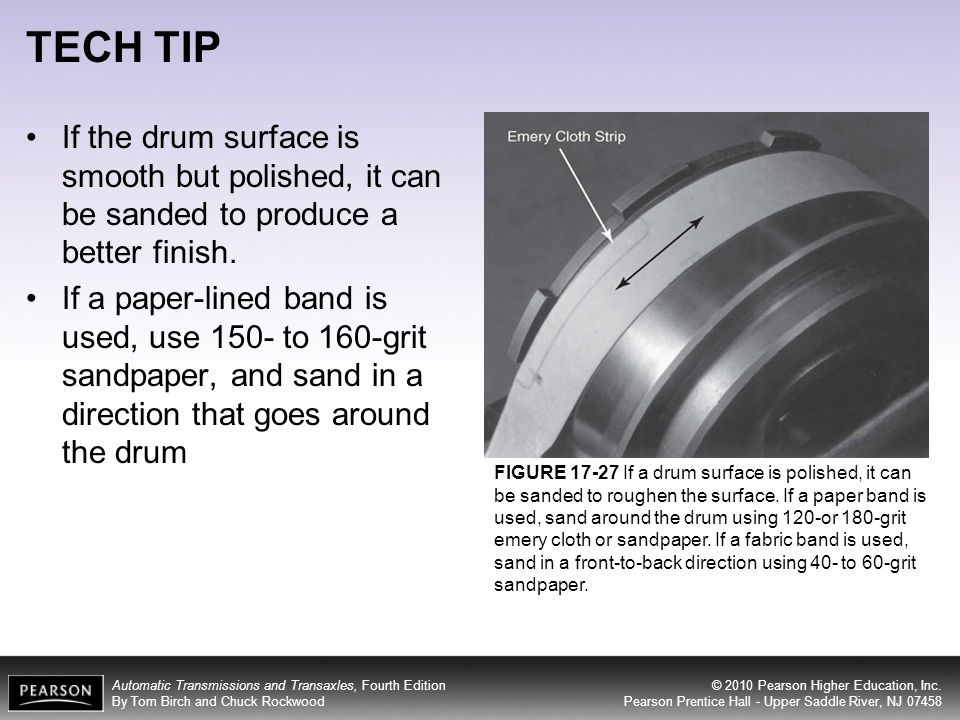 TECH TIP If the drum surface is smooth but polished, it can be sanded to produce a better finish.