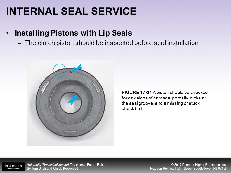 INTERNAL SEAL SERVICE Installing Pistons with Lip Seals