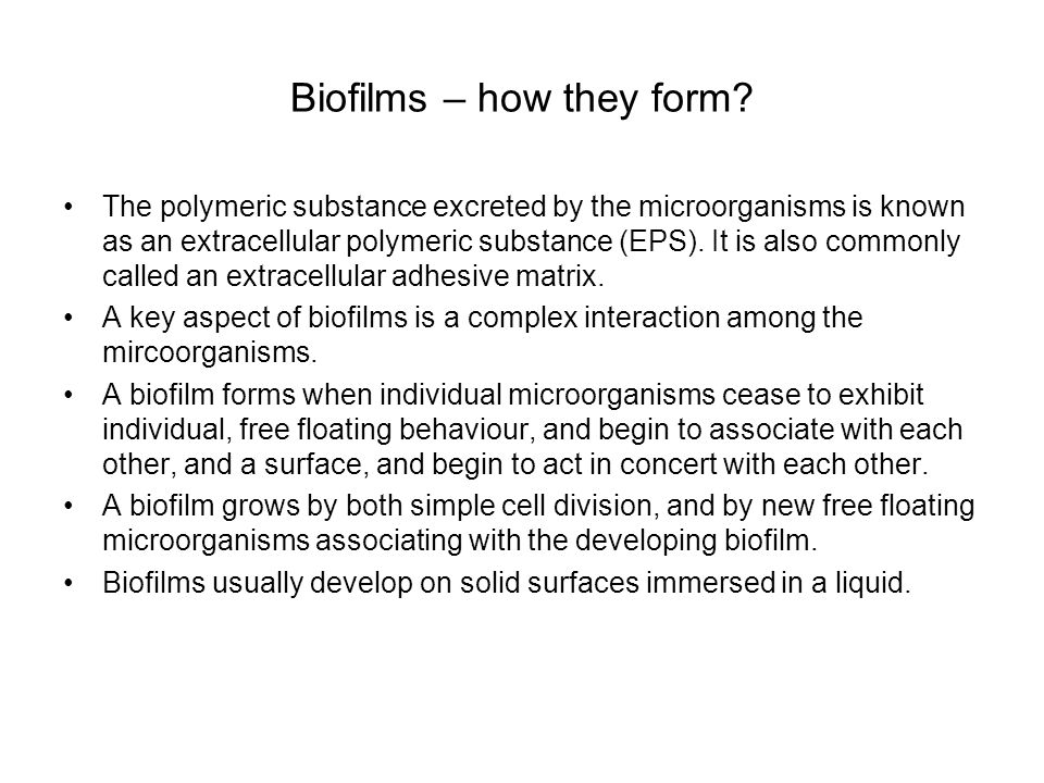 Biofilms – how they form