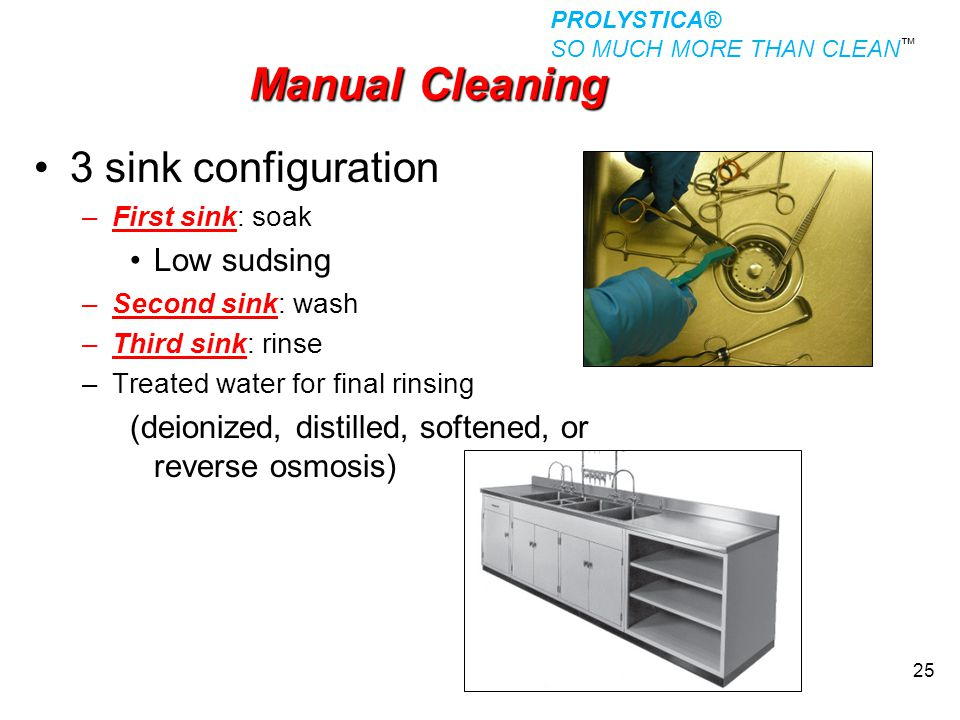 Manual Cleaning 3 sink configuration Low sudsing