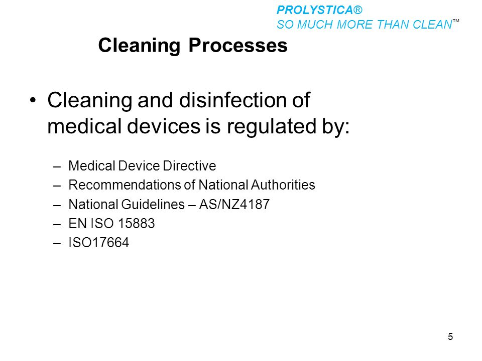 Cleaning and disinfection of medical devices is regulated by: