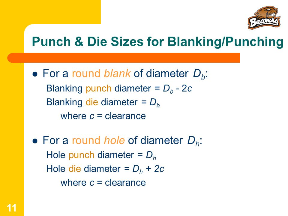 Punch & Die Sizes for Blanking/Punching