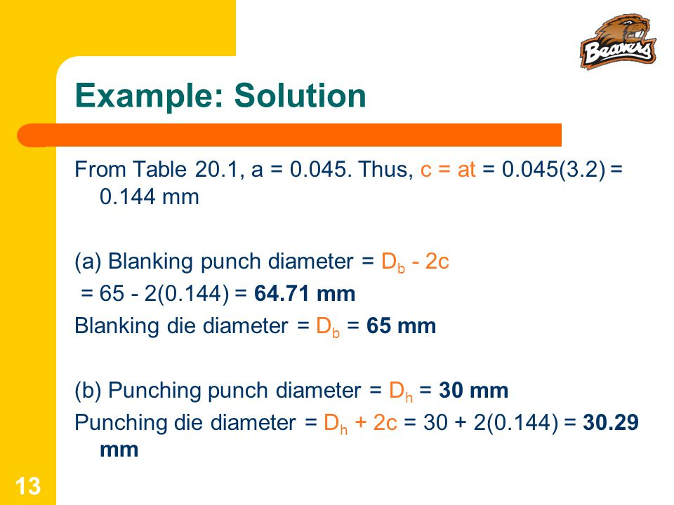 Example: Solution From Table 20.1, a = 0.045. Thus, c = at = 0.045(3.2) = 0.144 mm. (a) Blanking punch diameter = Db - 2c.