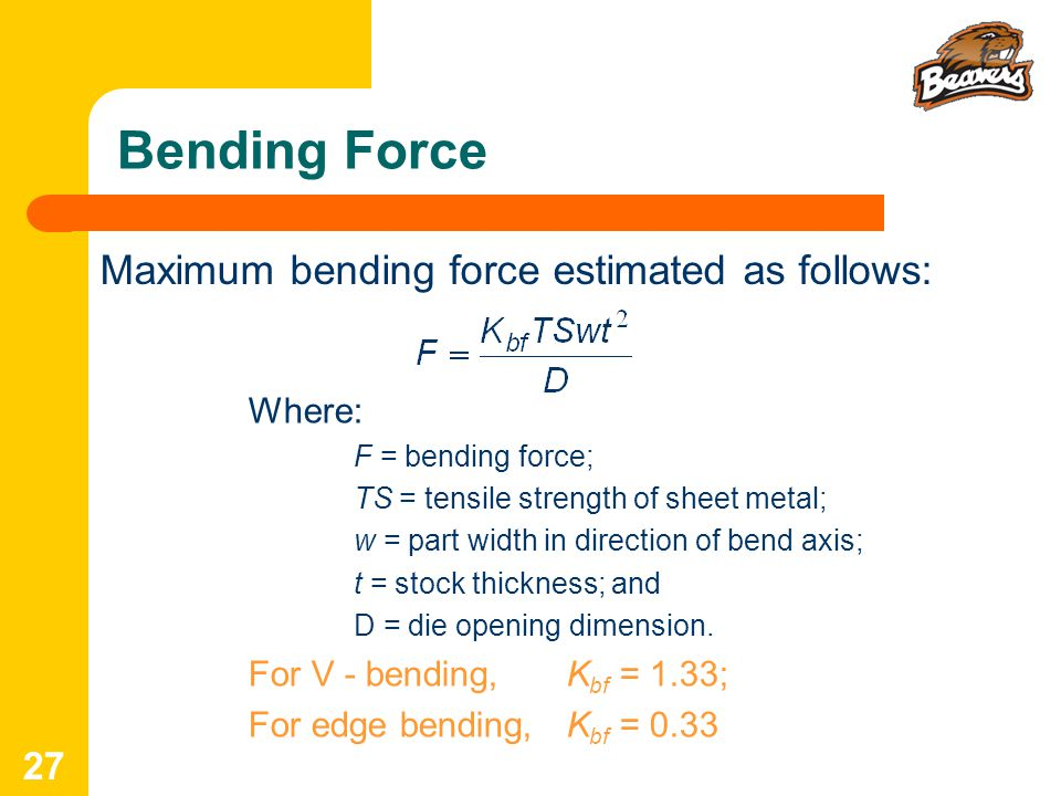 Bending Force Maximum bending force estimated as follows: Where: