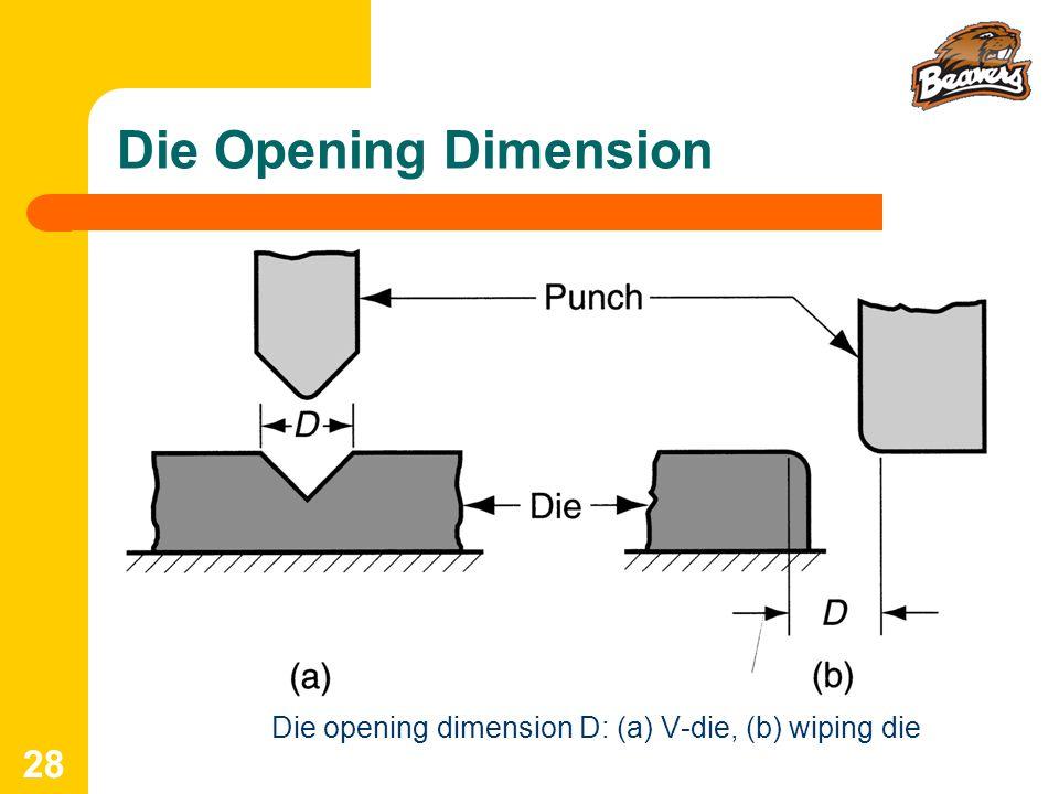 Die opening dimension D: (a) V‑die, (b) wiping die