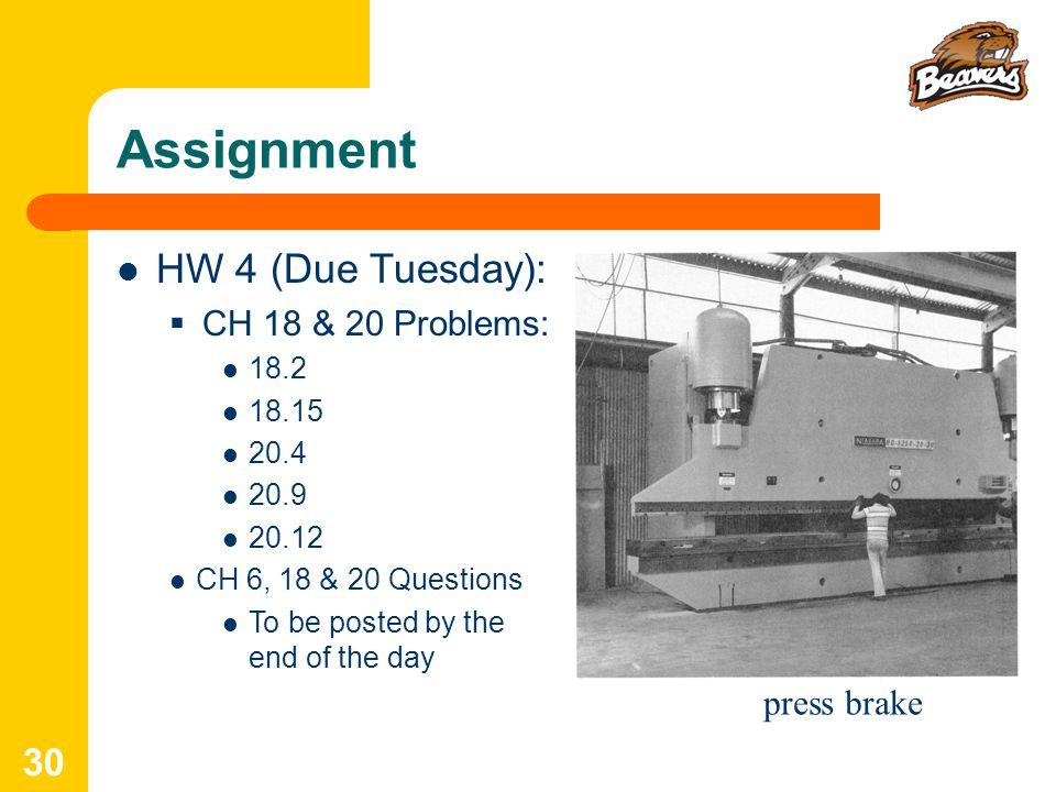 Assignment HW 4 (Due Tuesday): CH 18 & 20 Problems: press brake 18.2