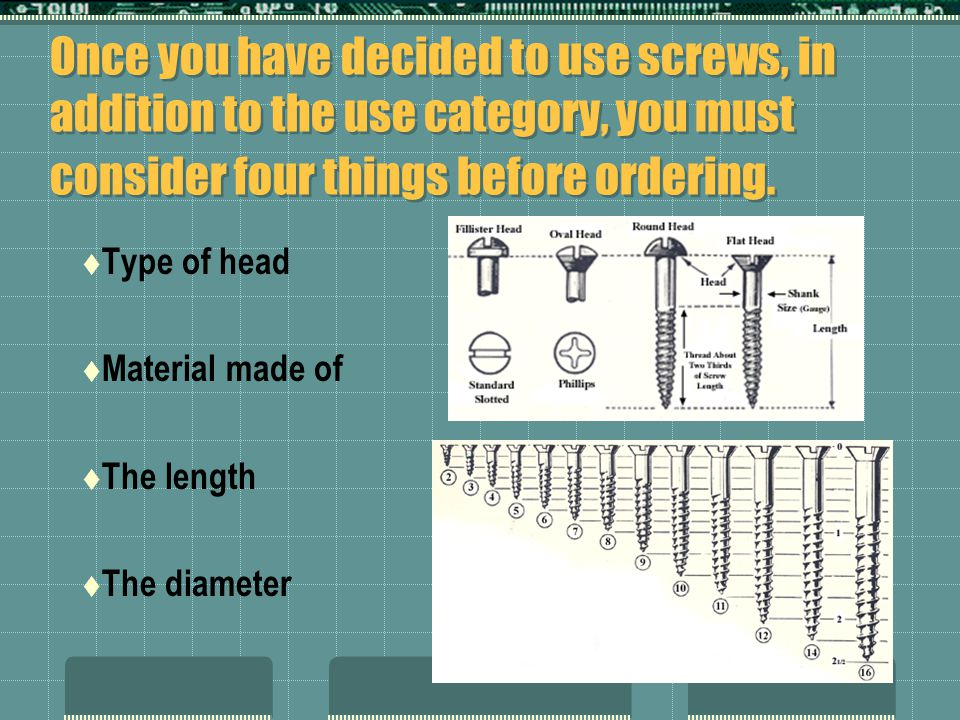 Once you have decided to use screws, in addition to the use category, you must consider four things before ordering.