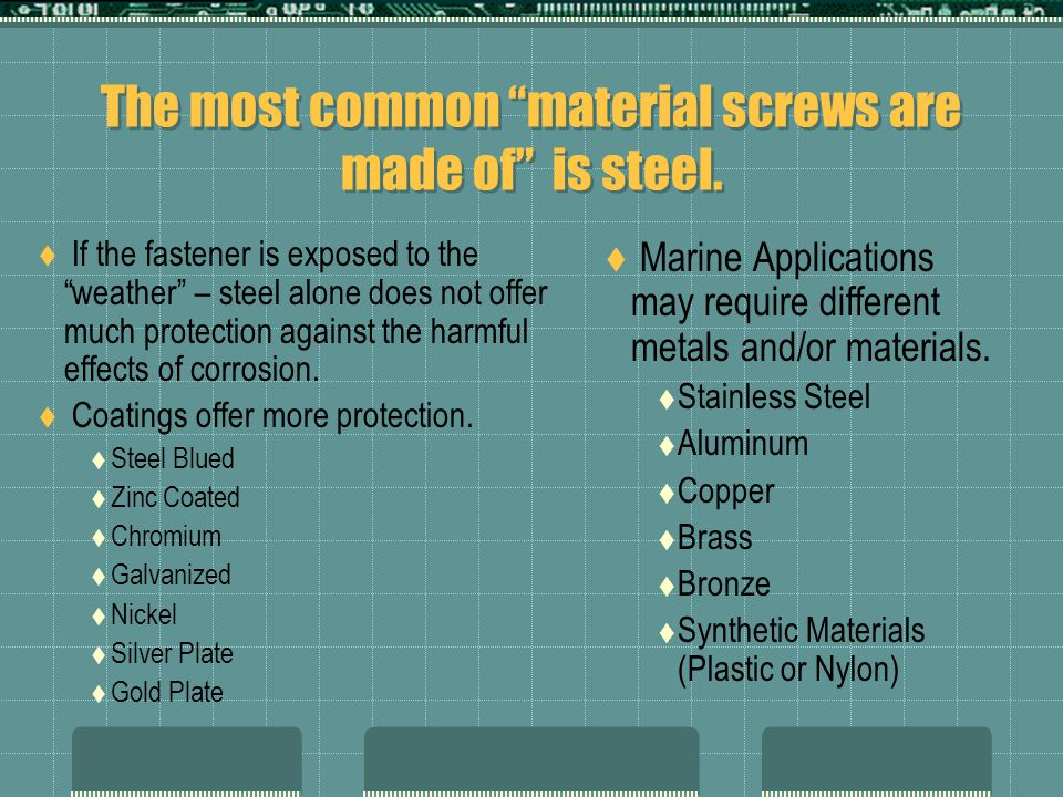 The most common material screws are made of is steel.