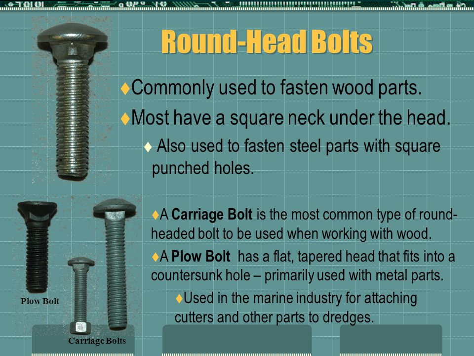Round-Head Bolts Commonly used to fasten wood parts.