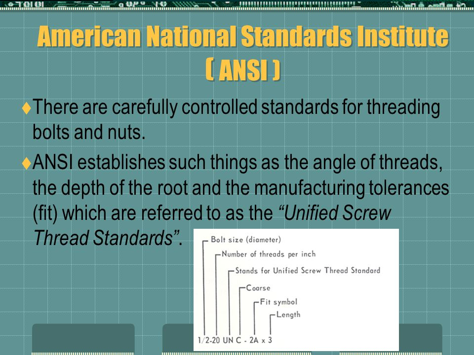 American National Standards Institute ( ANSI )