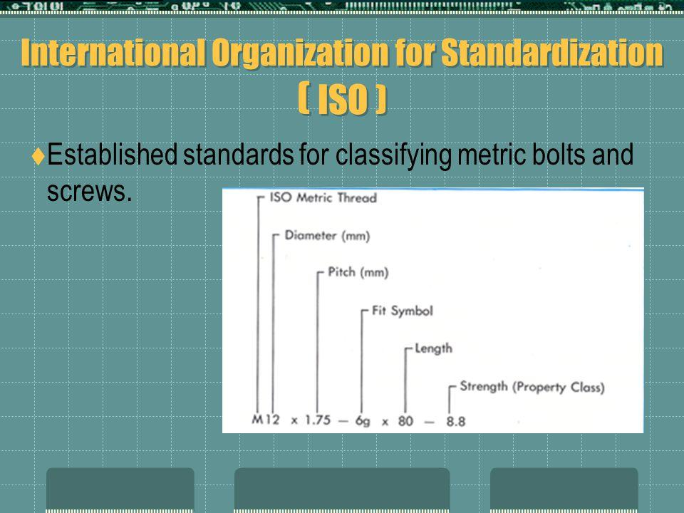 International Organization for Standardization ( ISO )