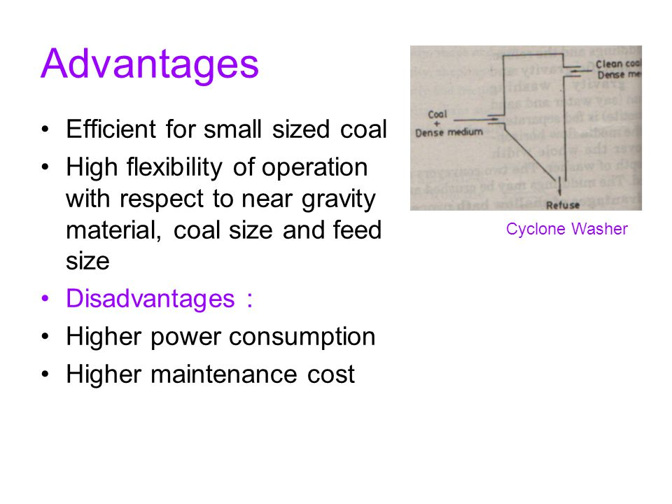 Advantages Efficient for small sized coal