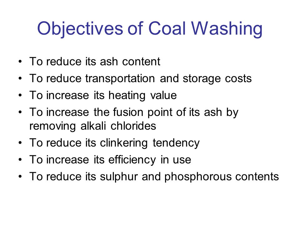 Objectives of Coal Washing