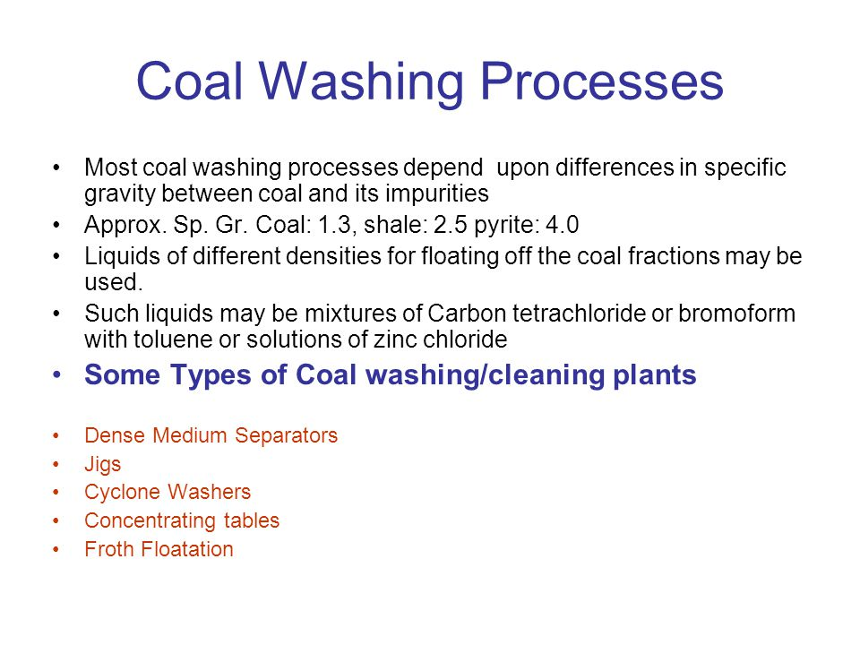 Coal Washing Processes
