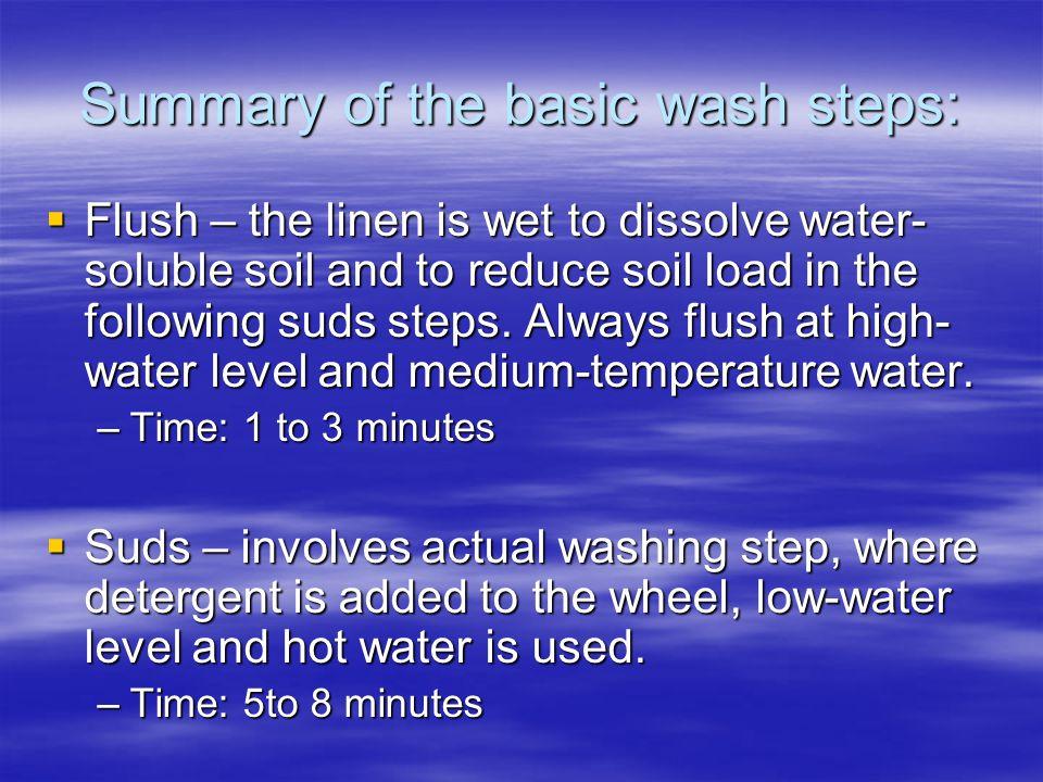 Summary of the basic wash steps: