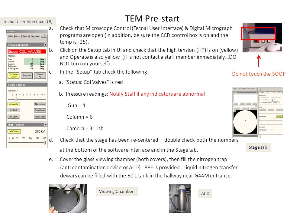TEM Pre-start Tecnai User Interface (UI)