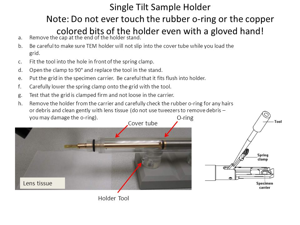 Single Tilt Sample Holder Note: Do not ever touch the rubber o-ring or the copper colored bits of the holder even with a gloved hand!