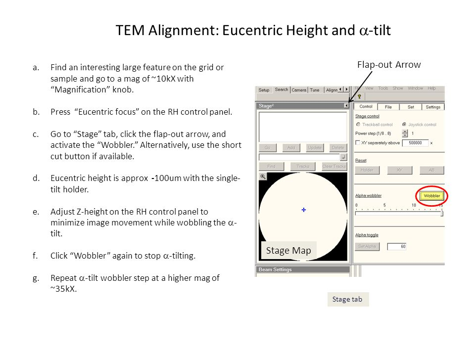 TEM Alignment: Eucentric Height and a-tilt