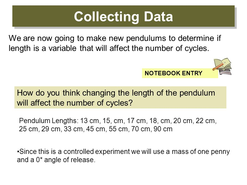 Collecting Data We are now going to make new pendulums to determine if length is a variable that will affect the number of cycles.