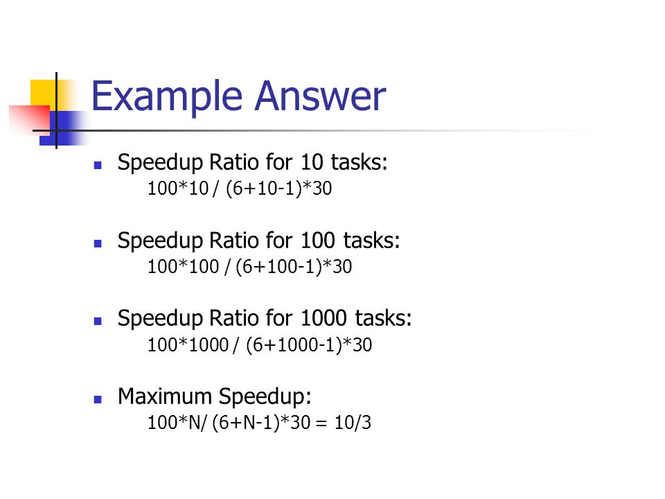 Example Answer Speedup Ratio for 10 tasks: