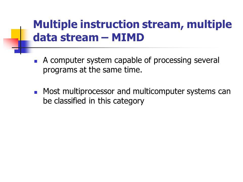 Multiple instruction stream, multiple data stream – MIMD