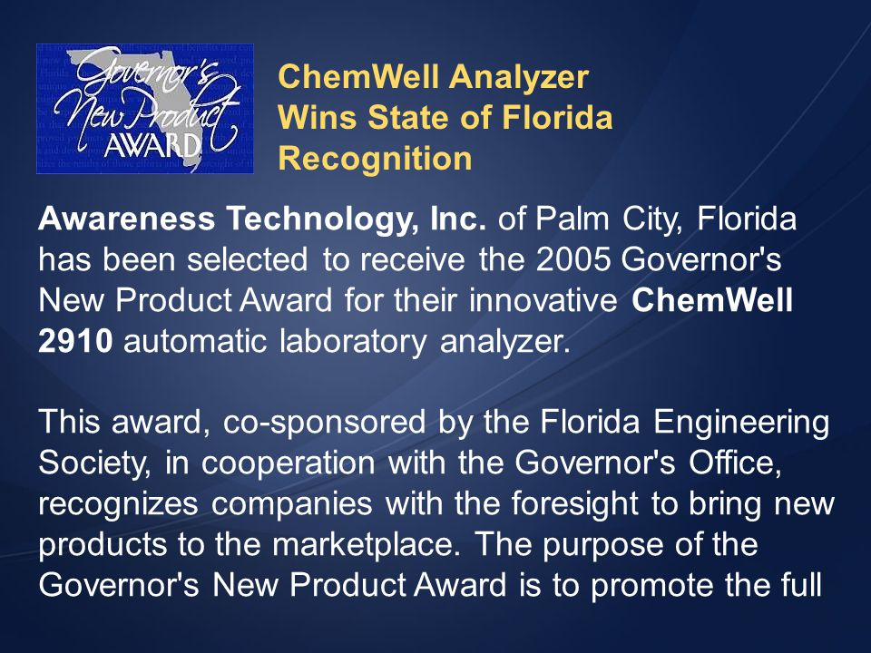 ChemWell Analyzer Wins State of Florida. Recognition.