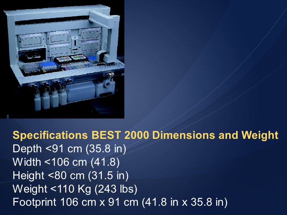 Specifications BEST 2000 Dimensions and Weight