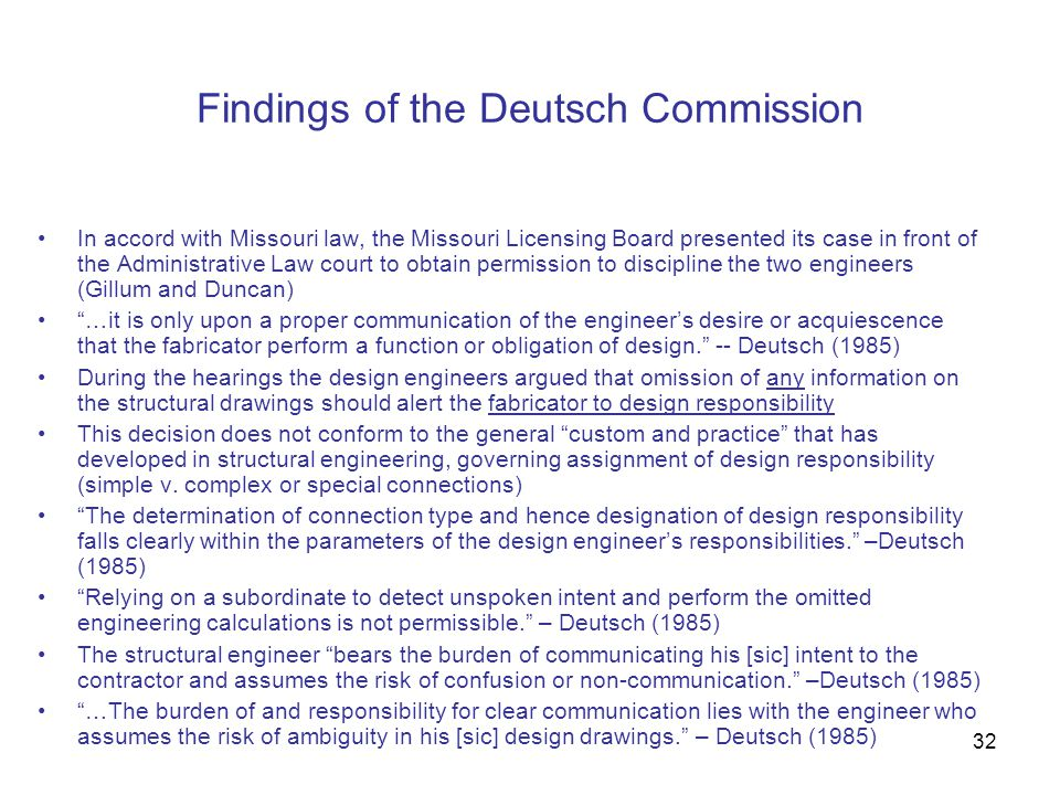 Findings of the Deutsch Commission