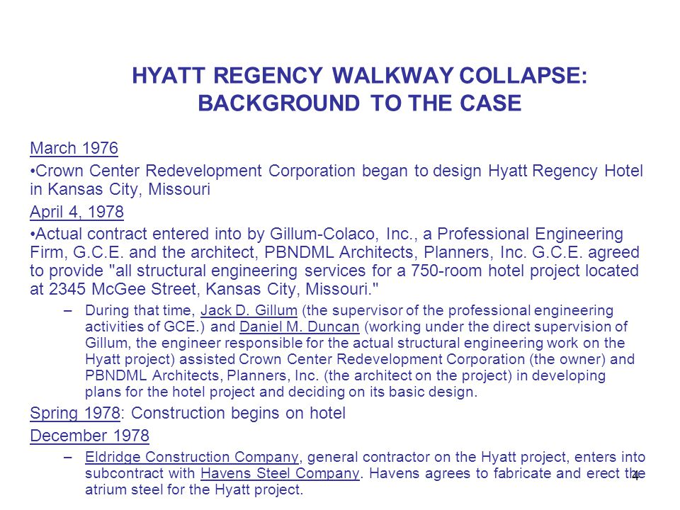 HYATT REGENCY WALKWAY COLLAPSE: BACKGROUND TO THE CASE