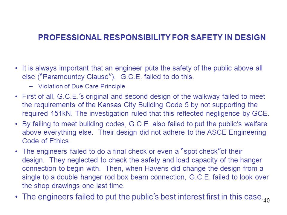 PROFESSIONAL RESPONSIBILITY FOR SAFETY IN DESIGN