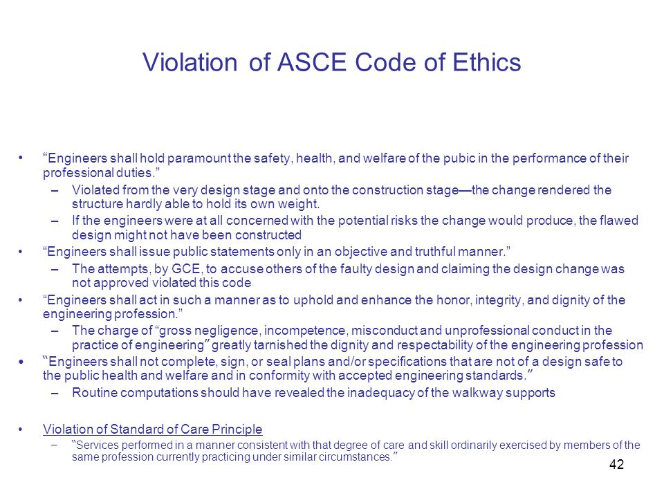 Violation of ASCE Code of Ethics