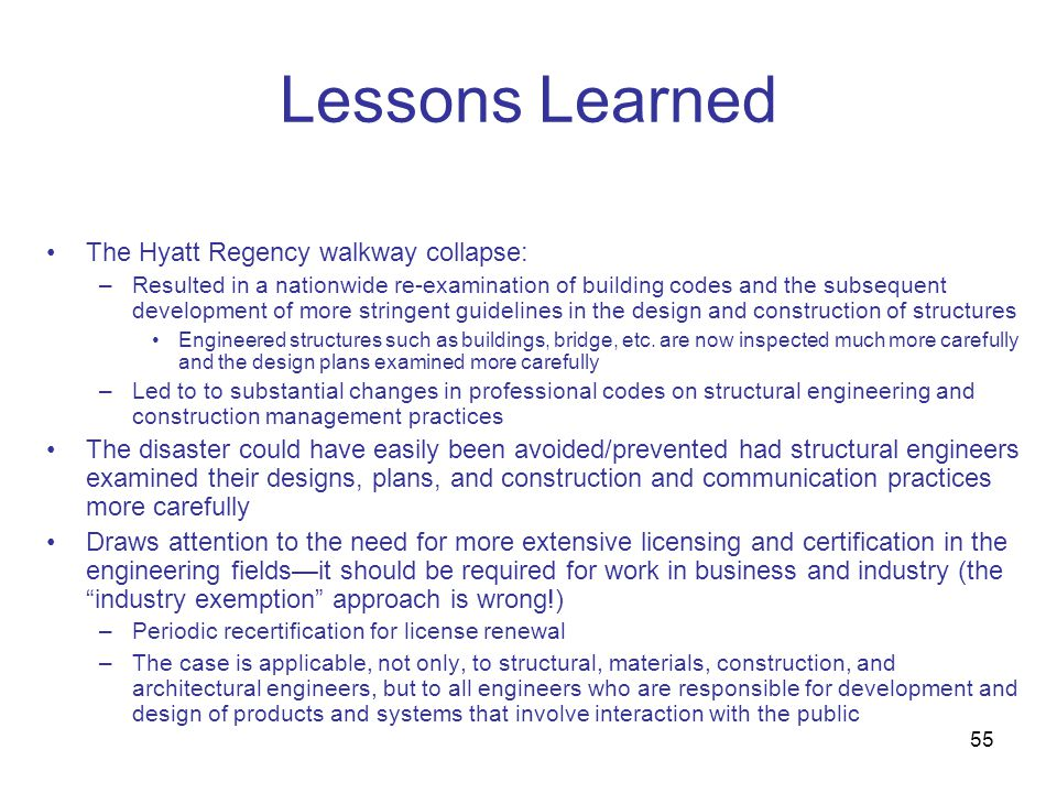 Lessons Learned The Hyatt Regency walkway collapse: