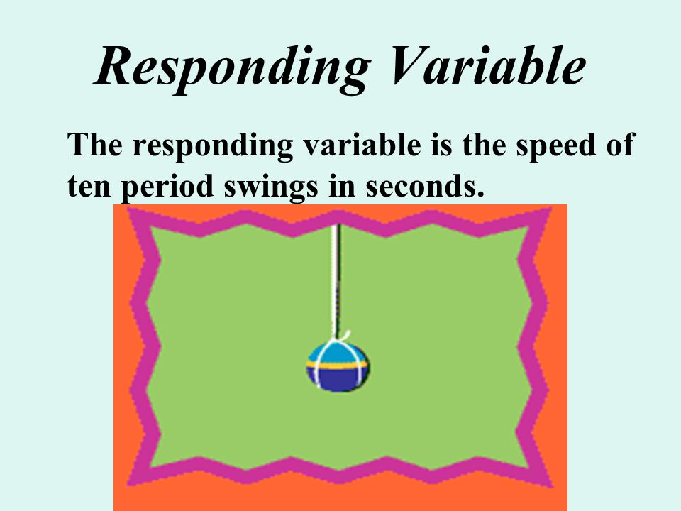 Responding Variable The responding variable is the speed of ten period swings in seconds.