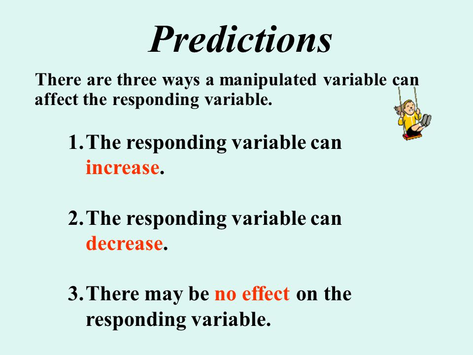 Predictions The responding variable can increase.