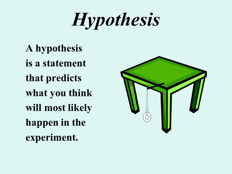 Hypothesis A hypothesis is a statement that predicts what you think