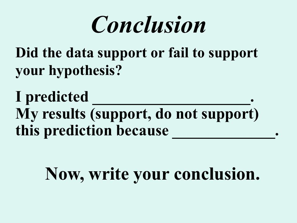 Conclusion Now, write your conclusion.